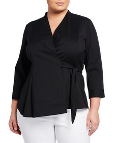 Lafayette 148 New York Plus Size Jillian Wrap Blou