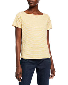 Eileen Fisher Striped Square-Neck Short-Sleeve Jer