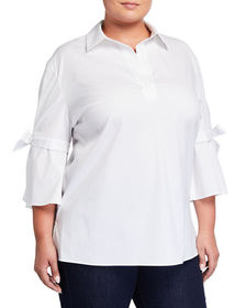 Lafayette 148 New York Plus Size Kinsley Cotton-Bl