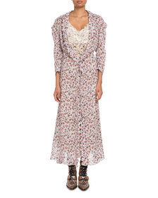 Chloe Long-Sleeve Floral-Print Viscose A-Line Dust