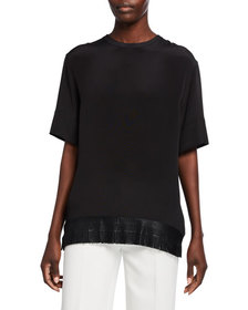 Akris Crewneck Elbow-Sleeve Silk Blouse w/ Fringe