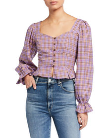 J.O.A. Sweetheart-Neck Plaid Puff-Sleeve Top