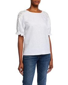 Neiman Marcus Crochet Short Sleeve Linen Top