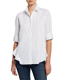 Finley Agetha Silky Poplin Blouse with Roll-Cuff