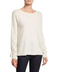 Neiman Marcus Cashmere Collection Crewneck Ruched