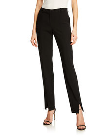 St. John Collection Crepe Marocain Ankle Pants Cav