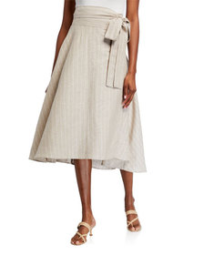 Neiman Marcus High-Low Stripe Linen Wrap Skirt
