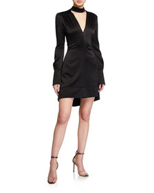 A.L.C. Garrison Satin Mock-Neck Cocktail Dress