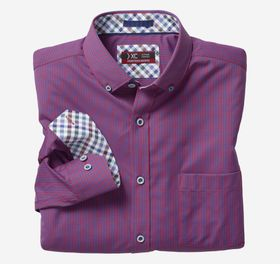 Johnston Murphy XC4 Micro Gingham Button-Collar Sh