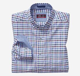 Johnston Murphy XC4 Multi Gingham Button-Collar Sh