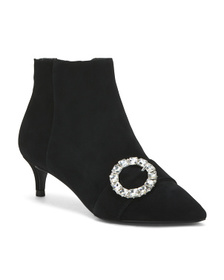 CHARLES DAVID Pointy Toe Suede Dress Booties