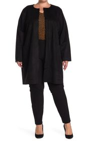 T Tahari Faux Suede Patch Pocket Long Cardigan (Pl