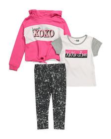 XOXO Little Girls 3pc Tie Front Hoodie And Legging