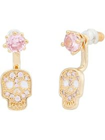 Betsey Johnson CZ Front Back Skull Earrings