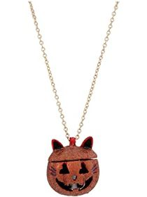 Betsey Johnson Cat Pumpkin Long Pendant Necklace