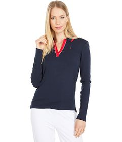 Tommy Hilfiger Long Sleeve Y-Neck Polo
