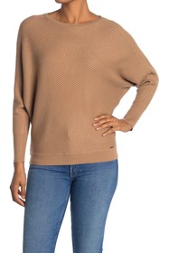 T Tahari Ribbed Dolman Sleeve Pullover Sweater