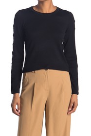 T Tahari Lace Trim Crew Neck Sweater