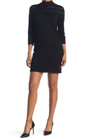 T Tahari Sheer Stripe Mock Neck 3/4 Sleeve Dress