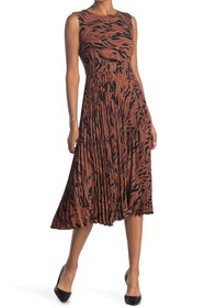 T Tahari Sahara Stripe Sleeveless Pleated Midi Dre