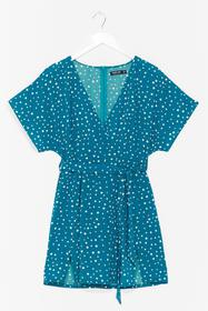 Nasty Gal Blue Spot In The Name Of Love Wrap Dress