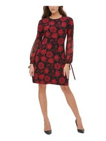 TOMMY HILFIGER Womens Black Floral Long Sleeve Jew