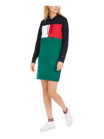 TOMMY HILFIGER Womens Blue Color Block Long Sleeve