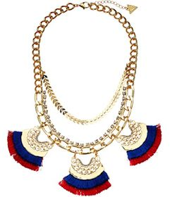 GUESS Dramatic Statement Necklace with Fabric Tass
