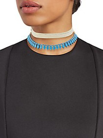 Saks Fifth Avenue Silvertone Beaded Choker Necklac