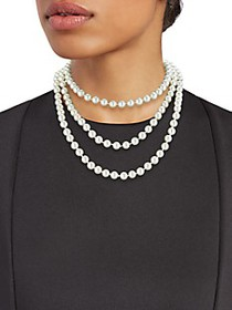 Kenneth Jay Lane Faux Pearl 3-Row Necklace