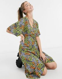 Influence midi wrap dress with frill in ditsy flor