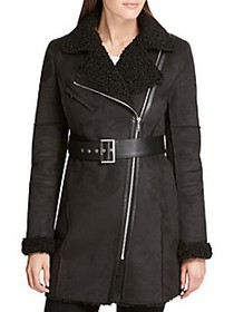 DKNY Belted Faux Shearling Coat
