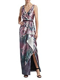 Marchesa Draped Metallic Floral Gown