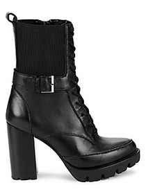 Charles David Gimmick Leather Stack-Heel Combat Bo
