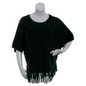 Plus Size NY Collection Round Neck Poncho