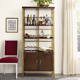 Marceau Wine Bar with 2 Shelves & Cabinet