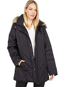 London Fog Short Quilted Puffer Coat w/ Faux Fur H