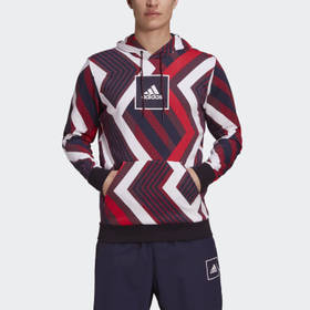 Adidas Men's Athletics White Allover Print Hoodie