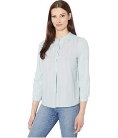 Lucky Brand Long Sleeve Button-Up Woven Mix Top