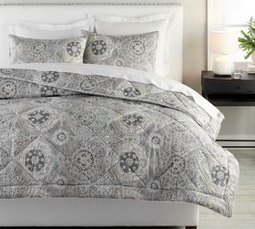 Pottery Barn Jacquelyn Printed Percale Comforter &