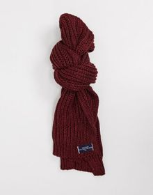Superdry aries sparkle knitted scarf in burgundy
