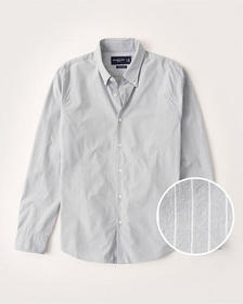 Super Slim Poplin Shirt, GREY STRIPE