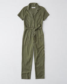 Short-Sleeve Utility Jumpsuit, OLIVE GREEN