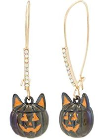 Betsey Johnson Cat Pumpkin Shepherd's Hook Earring