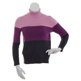 Womens Retrology 3 Color Stripe Turtleneck Sweater