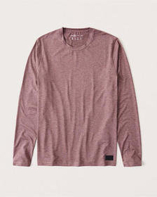 Long-Sleeve A&F Air Knit Tee, HEATHER RED