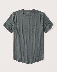 Air Knit Curved Hem Logo Tee, HEATHER GREEN