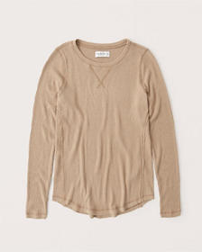 Cozy Long-Sleeve Ribbed Legging Tee, LIGHT BROWN