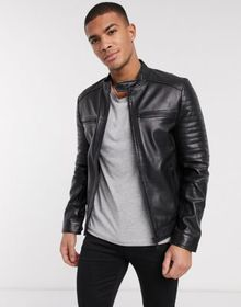 Barney's Originals quilted leather racer jacket