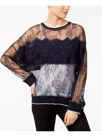 DKNY Womens Navy Lace Floral Long Sleeve Jewel Nec